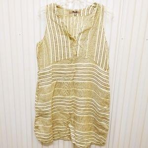 Flax Linen Striped Dress Light Green/Yellow Medium